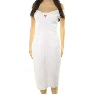 Black Halo White Womens Size 10 Riya Crepe Keyhole Sheath Dress