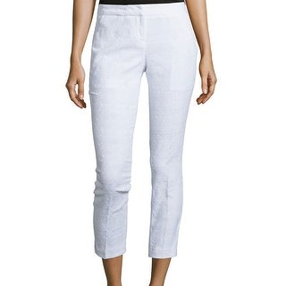 Amanda + Chelsea NEW White Women's 8X26 Capris Cropped Textured Pants