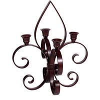 Palais Dinnerware Fleur De Lis Motif Art Bronze Metal Candle Holder (4 Branch Taper Candle Holder)