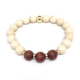 Ivory River Stone 'Wonder' stretch bracelet 14k Over Sterling Silver