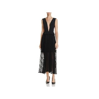 French Connection Womens Angelina Midi Dress Plunging Neck Pleated