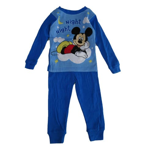 "Disney Little Boys Blue Mickey Mouse ""Night Night"" Print 2 Pc Pajama Set"