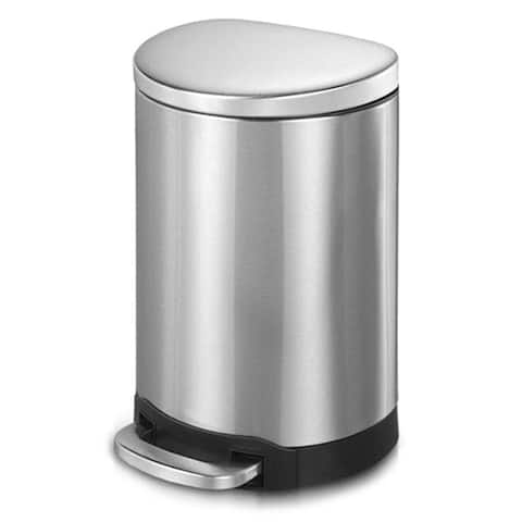 INNOVAZE fingerprint free brushed stainless steel semi- round step-on trash can