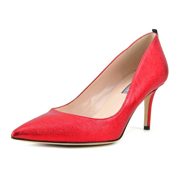SJP Fawn 70 Women Pointed Toe Leather Red Heels