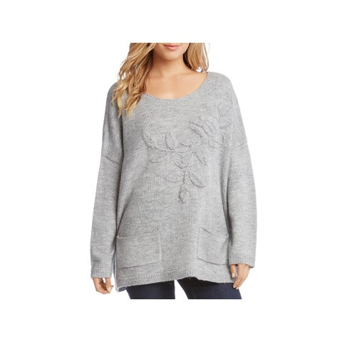 Karen Kane Womens Pullover Sweater Embroidered 3/4 Sleeves