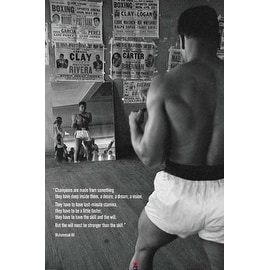 ''Muhammad Ali in Gym with Mirror'' by Anon African American Art Print (36 x 24 in.)
