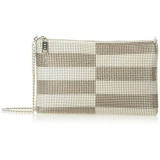 Whiting & Davis Womens Metal Mesh Evening Crossbody Handbag - pewter/pearl - SMALL