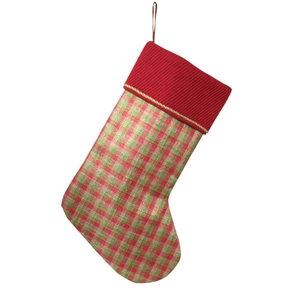 Pack of 4 Red and Green Decroative Plaid Elegant Christmas Stockings 22""