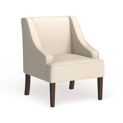 Porch & Den Lyric Cream Swoop Arm Accent Chair