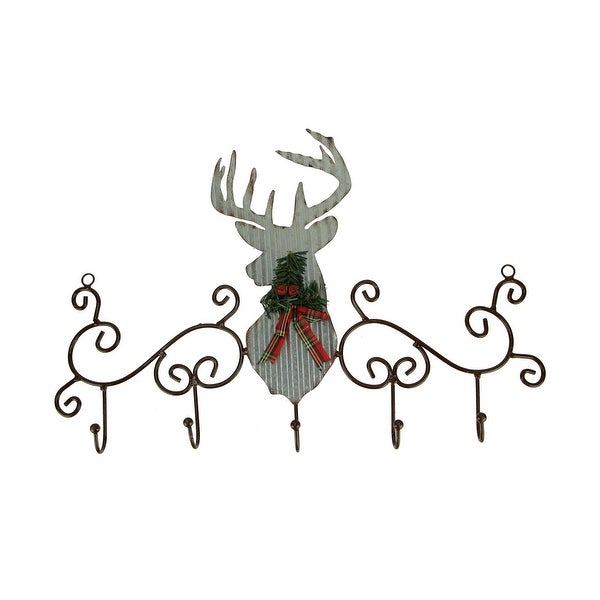 Metal Art Scroll Rustic Deer with Pine and Bow Wall Hook Rack - 16 X 23.5 X 1.75 inches