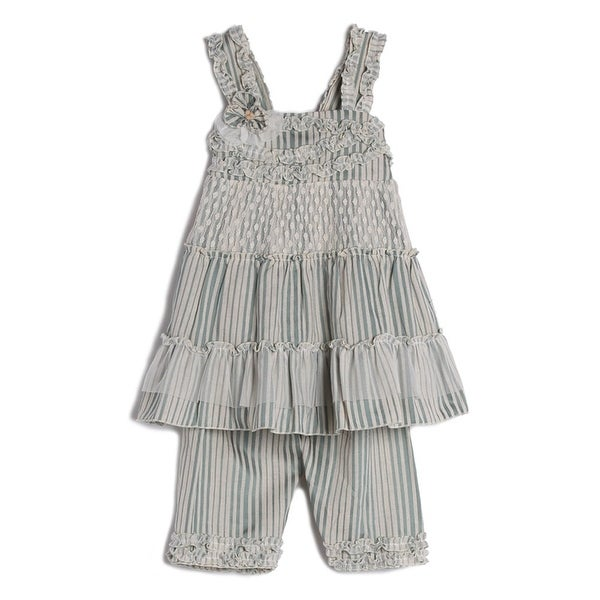 Isobella & Chloe Baby Girls Green Striped Straps Lace Tulle 2 Pc Outfit