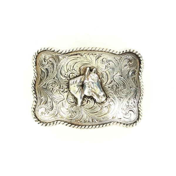 Crumrine Western Belt Buckle Etched Horse Head Antique Silver - 2 1/2 x 3 1/2