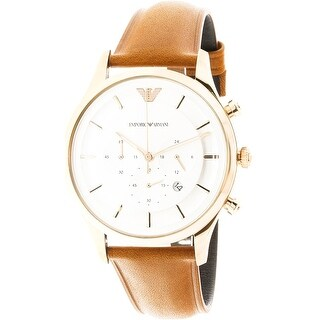 Emporio Armani Men's Rose-Gold Leather Japanese Quartz Fashion Watch