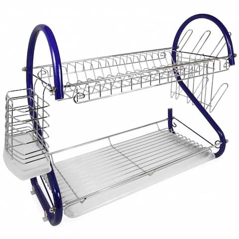 Better Chef DR-165R, 16-Inch, 2-Tier, Chrome Plated Dishrack in Blue