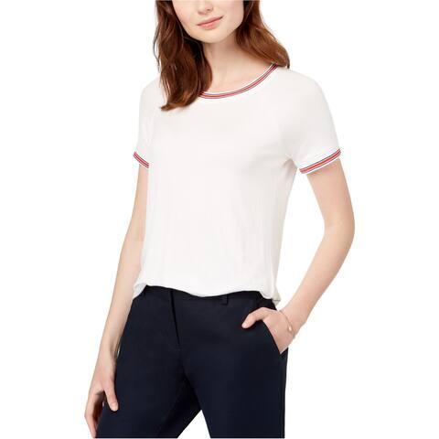 Hippie Rose Womens Crew Neck Ringer Basic T-Shirt, off-white, Small