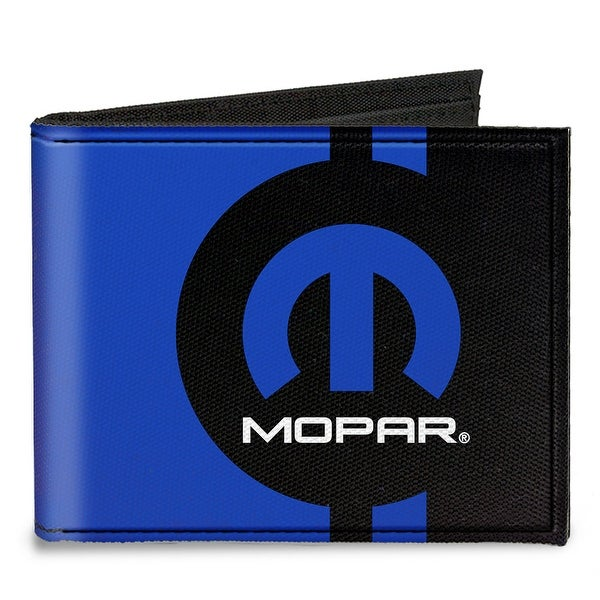 Mopar Logo Stripe2 Black Blue Canvas Bi Fold Wallet One Size - One Size Fits most