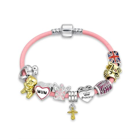Royal Princess Cross Religious Theme European Bead Charms Bracelet For Women New Mother Mum Sterling Silver Barrel Clasp