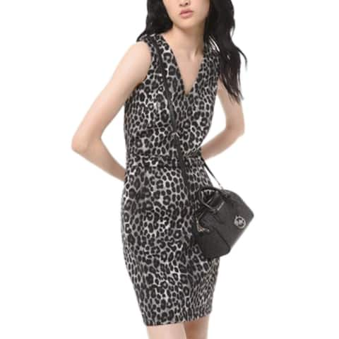 Michael Kors Women's Leopard-Print Scuba Dress Gunmetal Size Extra Small - Grey - X-Small