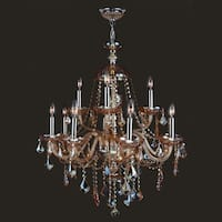 """Worldwide Lighting W83101C28-AM Provence 12-Light 2 Tier 28"""" Chrome Chandelier with Amber Crystals - n/a"""