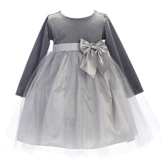 Little Girls Silver Velvet Bow Accent Glitter Tulle Occasion Dress 2T-6