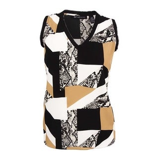 INC International Concepts Women's Plus Size Patchwork Snakeskin-Print Top - patched snake geo