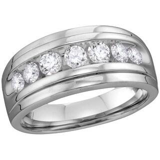 10kt White Gold Mens Round Natural Diamond Band Wedding Anniversary Ring 7/8 Cttw