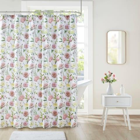 Intelligent Design Sophia Blush Floral Print Shower Curtain