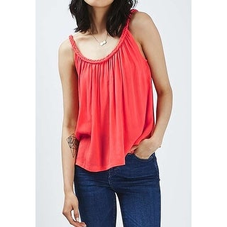 TopShop NEW Coral Pink Womens Size 6 Braided Strap Crop Tank Top