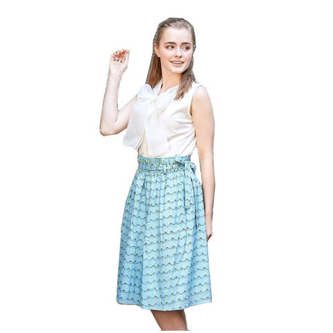 0206db4d93e0e Bunny N Bloom Women's Sky Blue Cotton Bow-Tied Belt Midi Paperbag Skirt