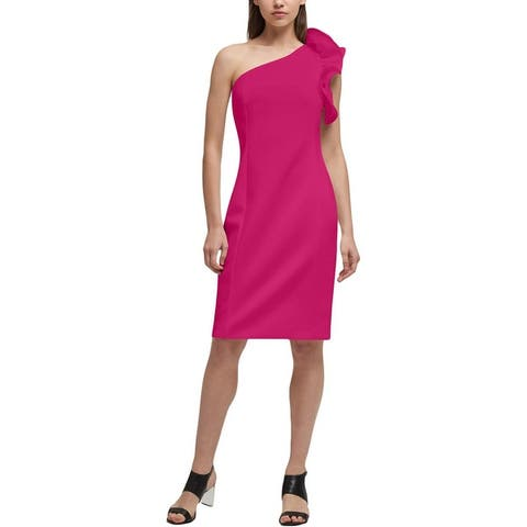 DKNY Womens Party Dress One Shoulder Ruffled
