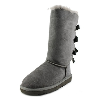 Ugg Australia Bailey Bow Tall Youth Round Toe Suede Gray Winter Boot