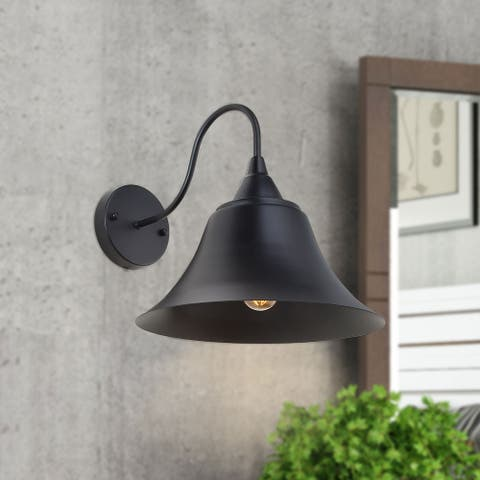 Farmhouse/ Transitional 1-Light Black Dome Shade Wall Sconces Lamp