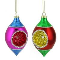 Red Green and Gold Retro Reflector Glass Teardrop Christmas Ornament