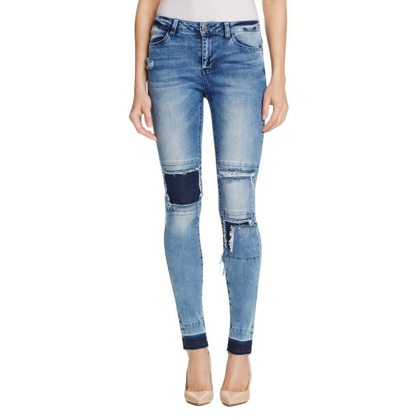 Noisy May Womens Lucy Slim Jeans Destroyed Patchwork