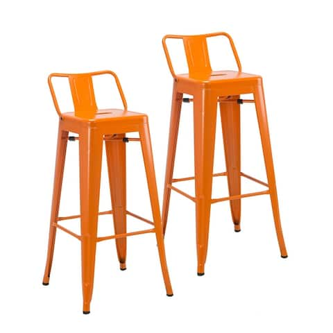 Porthos Home Avi Set Of 2 Iron Bar Stools, Low Back, Stackable Design
