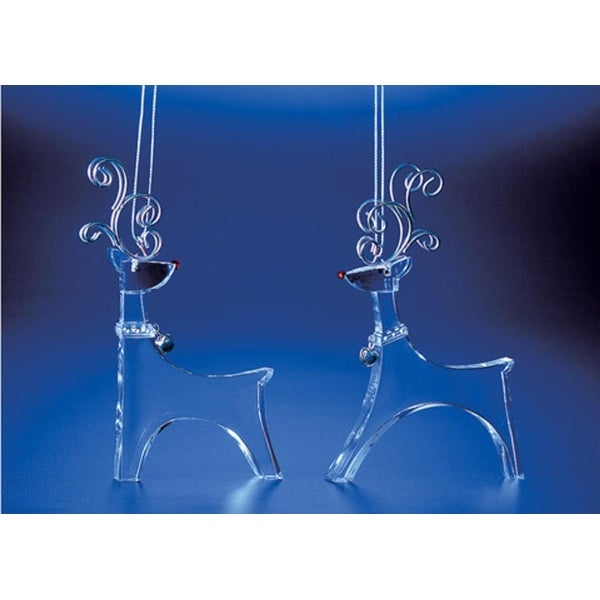 "Club Pack of 16 Icy Crystal Decorative Christmas Standing Deer Ornaments 5"" - CLEAR"