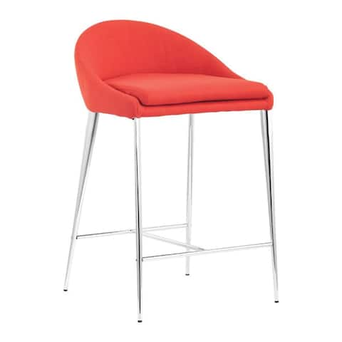 """Offex Home Kitchen Reykjavik Counter Chair, Tangerine Pack of 2 - 18""""W x 18""""D x 30.3""""H"""
