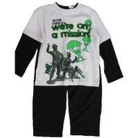 Disney Little Boys White Black Toy Story Inspired Print 2 Pc Pant Set