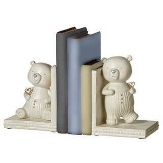 "10.25"" Black, Blue and cream white decorative heart in holding bear bookend pair"