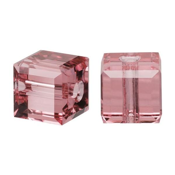 Swarovski Crystal, 5601 Cube Beads 4mm, 10 Pieces, Blush Rose