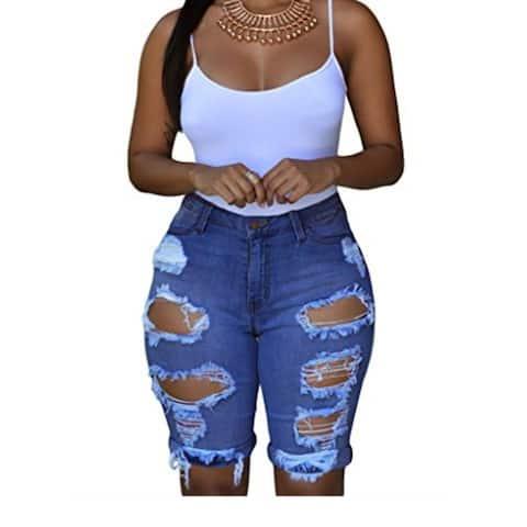 Womens Casual Denim Destroyed Bermuda Shorts Jeans