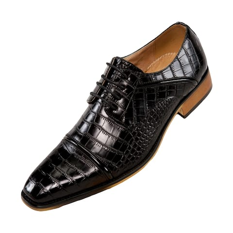 ad8afcee353d Amali Men's Exotic Croco Lace Up with Burnished Cap Toe Dress Shoe, Style  Eberly