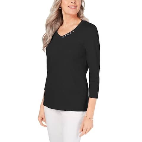 Karen Scott Women's Cotton V-Neck Button-Trim Top Black Size Medium