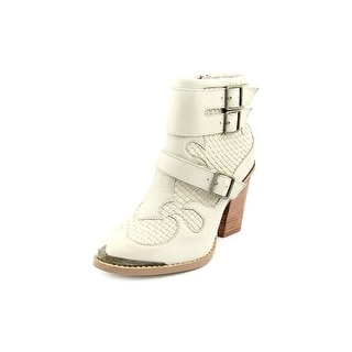 Kensie Hamlin Women Round Toe Leather Ivory Ankle Boot