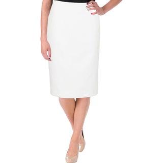 Le Suit Womens Petites Nantucket Pencil Skirt Textured Dot Print - 12P