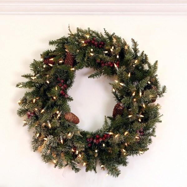 "30"" Pre-Lit Slightly Frosted Edina Fir Artificial Christmas Wreath - Clear Lights - green"