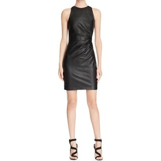 Bailey 44 Womens Clubwear Dress Faux Leather Ruched