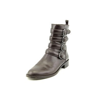 Via Spiga Bara Women Round Toe Leather Black Ankle Boot
