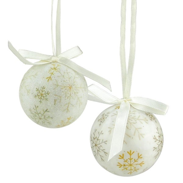 "10-Piece Tan Brown Decoupage Snowflake Shatterproof Christmas Ball Ornament Set 1.75"""