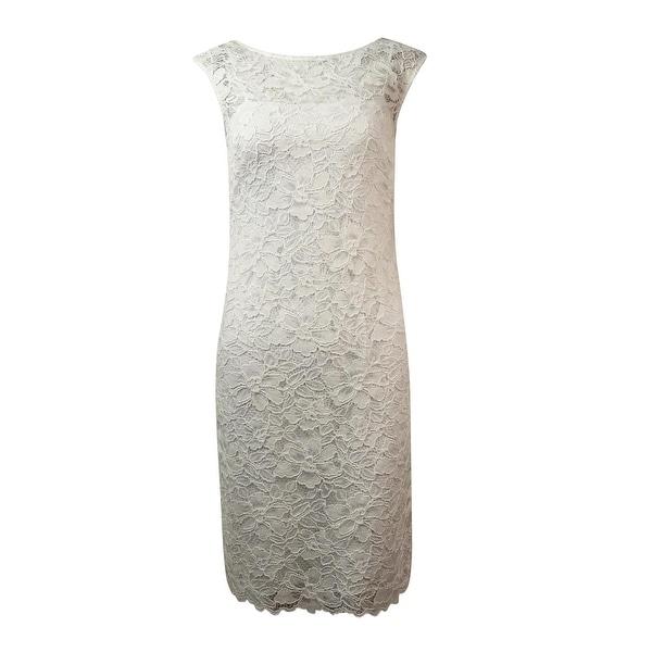 Calvin Klein Women's Illusion V-Back Lace Sheath Dress - White